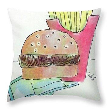 Hamburger With Fries Throw Pillow by Loretta Nash