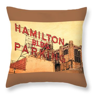 Hamilton Bldg Parking Sign Throw Pillow