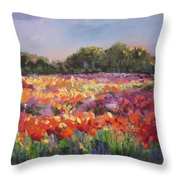 Hamilton Dahlia Farm Throw Pillow