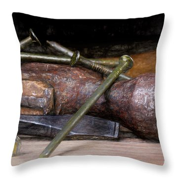 Hammer And Nails Throw Pillow