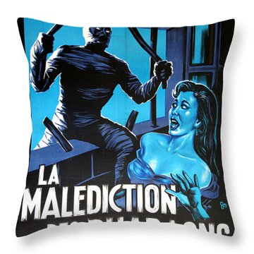 Hammer Movie Poster The Mummy La Malediction Des Pharaons Throw Pillow