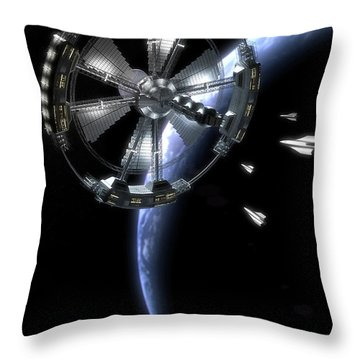 Throw Pillow featuring the digital art Hammer Station In Earth Orbit by Bryan Versteeg