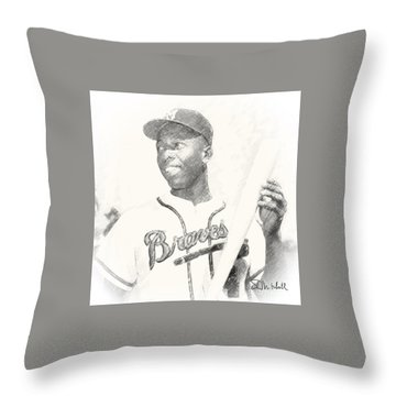 Hammerin' Hank Throw Pillow