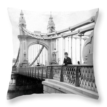 Hammersmith Bridge In London - England - C 1896 Throw Pillow