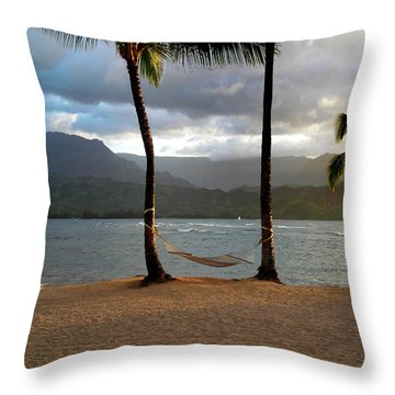 Hammock At Hanalei Bay Throw Pillow