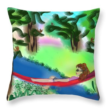 Hammock Under The Chihuahua Trees Throw Pillow