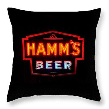 Hamm's Beer Throw Pillow by Susan  McMenamin