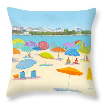 Hampton Beach Umbrellas Throw Pillow