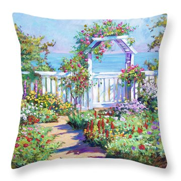 Hamptons Summer Garden Throw Pillow