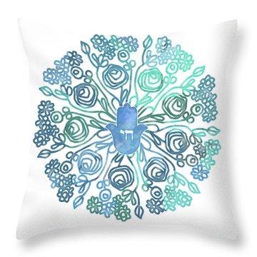 Throw Pillow featuring the mixed media Hamsa Mandala 1- Art By Linda Woods by Linda Woods