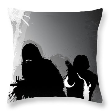 Han And Chewie Throw Pillow