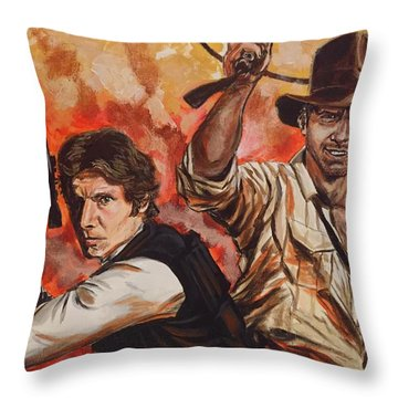 Han Solo And Indiana Jones Throw Pillow
