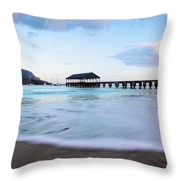 Throw Pillow featuring the photograph Hanalei Bay Pier At Sunrise by Melanie Alexandra Price