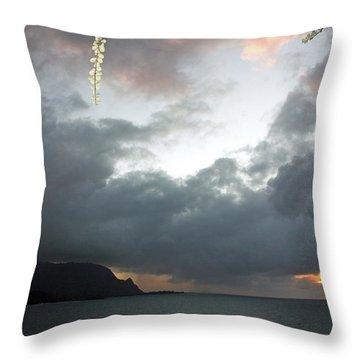 Hanalei Bay Sunset Throw Pillow by Kathy Yates
