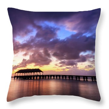 Hanalei Pier Throw Pillow