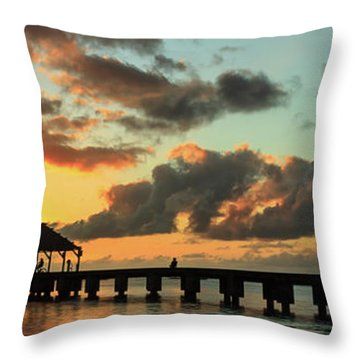 Hanalei Pier Sunset Panorama Throw Pillow