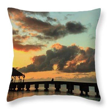 Hanalei Pier Sunset Panorama Throw Pillow