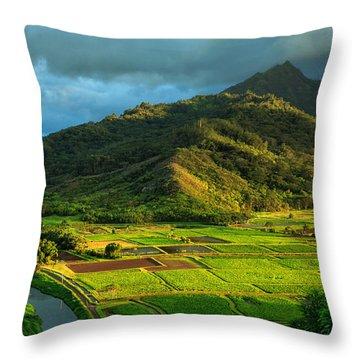 Hanalei Valley Taro Fields Throw Pillow