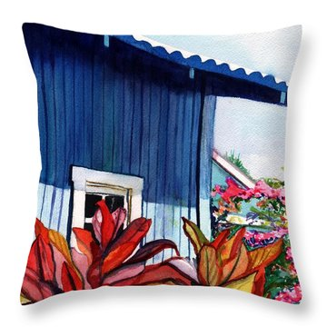 Hanapepe Town Throw Pillow by Marionette Taboniar