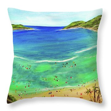 Hanauma Bay Hawaiian #336 Throw Pillow by Donald k Hall