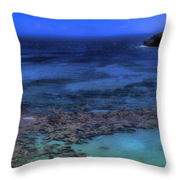 Throw Pillow featuring the photograph Hanauma Bay Panorama by Ellen Heaverlo