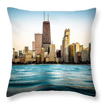 Hancock Building And Chicago Skyline Photo Throw Pillow by Paul Velgos