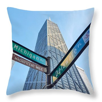 Hancock Building With Street Signs Throw Pillow by Matthew Bamberg