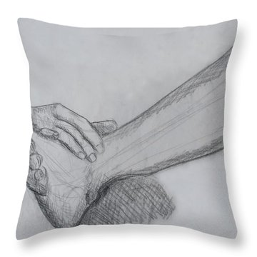 Hand And Leg Sketch Throw Pillow