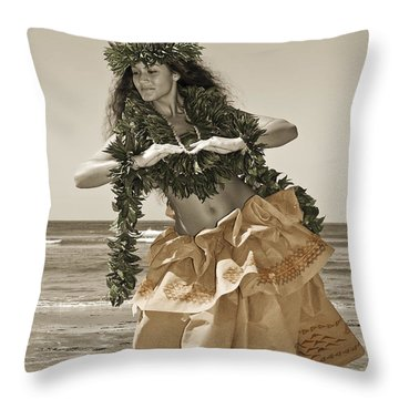 Hand Colored Hula Throw Pillow by Himani - Printscapes