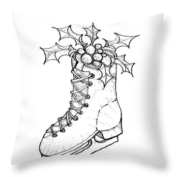 Hand Drawn Of Christmas Skate On White Background  Throw Pillow