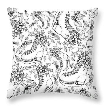 Hand Drawn Of Christmas Skates On White Background  Throw Pillow