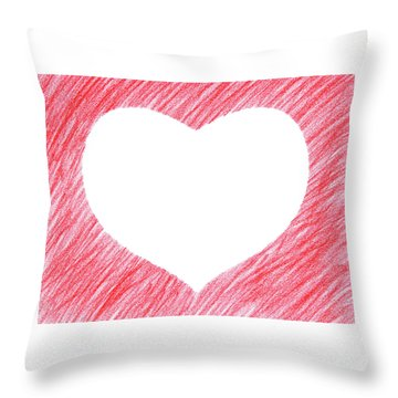 Hand-drawn Red Heart Shape Throw Pillow by GoodMood Art