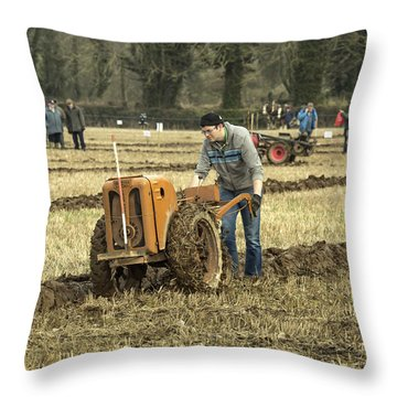Throw Pillow featuring the photograph Hand Held Tractor Plough by Roy McPeak