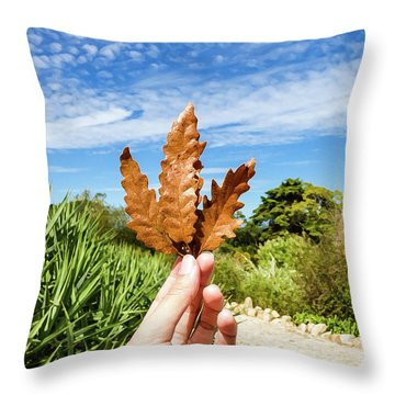 Hand Holding A Beautiful Oak Leaf Throw Pillow