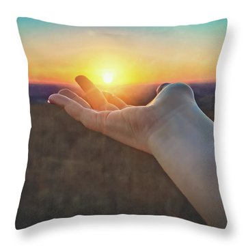Throw Pillow featuring the photograph Hand Holding Sun - Sunset At Lapham Peak - Wisconsin by Jennifer Rondinelli Reilly - Fine Art Photography