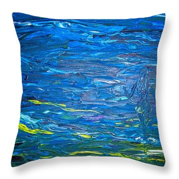 Throw Pillow featuring the painting Hand In Hand by Piety Dsilva