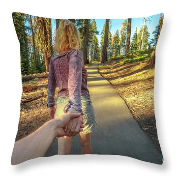 Hand In Hand Sequoia Hiking Throw Pillow