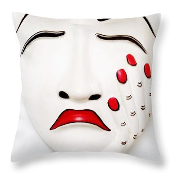 Hand On Face Mask  Throw Pillow