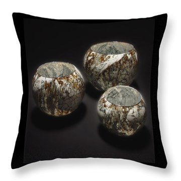 Hand Painted Glass Set Of Three Brown White Throw Pillow