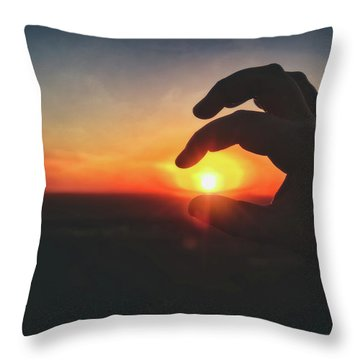 Throw Pillow featuring the photograph Hand Silhouette Around Sun - Sunset At Lapham Peak - Wisconsin by Jennifer Rondinelli Reilly - Fine Art Photography