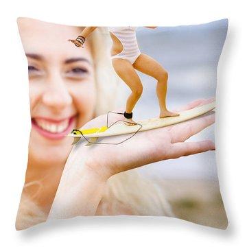 Hand Surfer Throw Pillow