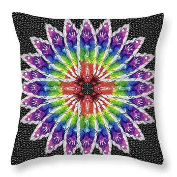 Throw Pillow featuring the mixed media Hand Totem Mandala by Kym Nicolas