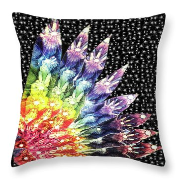 Throw Pillow featuring the mixed media Hand Totem Wing by Kym Nicolas