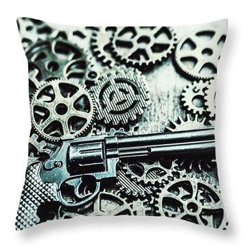 Handguns And Gears Throw Pillow