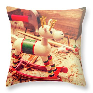 Handmade Xmas Rocking Toy Throw Pillow