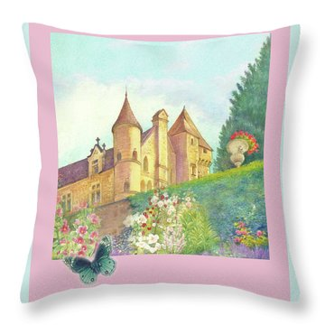 Handpainted Romantic Chateau Summer Garden Throw Pillow