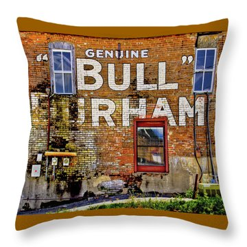 Throw Pillow featuring the photograph Handpainted Sign On Brick Wall by David and Carol Kelly