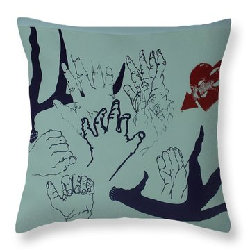 Throw Pillow featuring the mixed media Hands And Horns by Erika Chamberlin