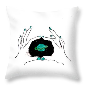 Hands Around Saturn Throw Pillow by Lucy Frost