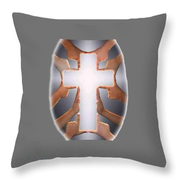 Hands Cross T-shirt Throw Pillow by Herb Strobino